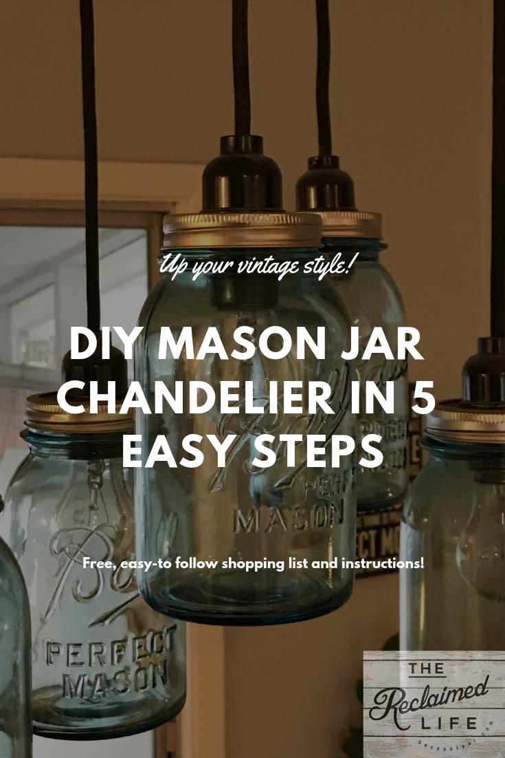 Diy Mason Jar Chandelier Becka Asper The Reclaimed Life