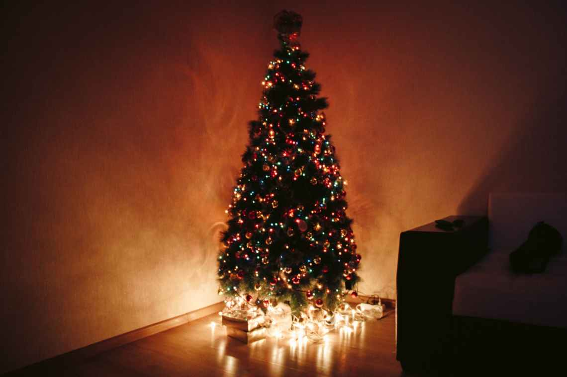 photo of christmas tree during night