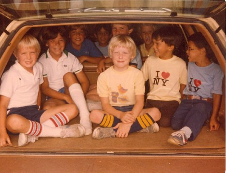80s station wagon, kids in the back